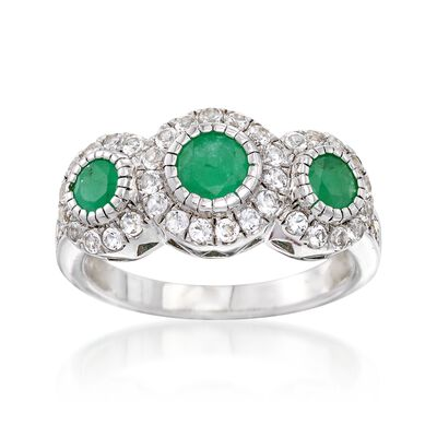 .90 ct. t.w. Emerald and .50 ct. t.w. White Topaz Ring in Sterling Silver, , default