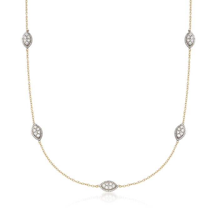 1.00 ct. t.w. Diamond Marquise Cluster Station Necklace in 14kt Yellow Gold