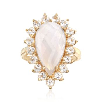 White Chalcedony and 2.50 ct. t.w. White Topaz Ring in 18kt Gold Over Sterling, , default