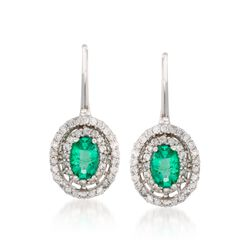1.00 ct. t.w. Emerald and .55 ct. t.w. Diamond Earrings in 14kt White Gold, , default