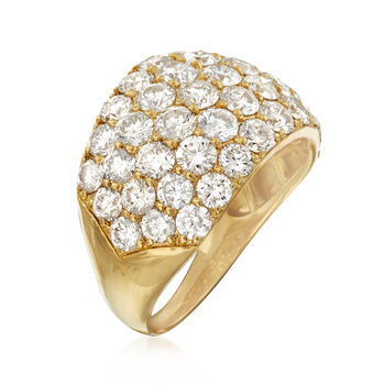 C. 1980 Vintage 5.27 ct. t.w. Diamond Dome Ring in 18kt Yellow Gold. Size 8, , default
