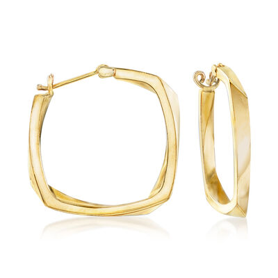C. 1990 Vintage Geometric Shape Hoop Earrings in 18kt Yellow Gold, , default