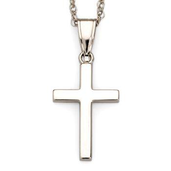 """14kt White Gold Cross Pendant Necklace. 18"""", , default"""