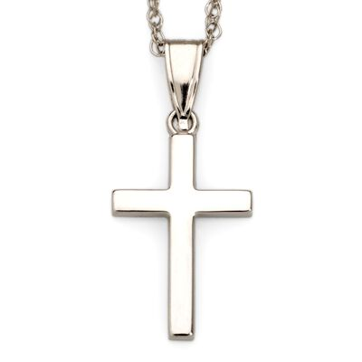 14kt White Gold Cross Pendant Necklace, , default