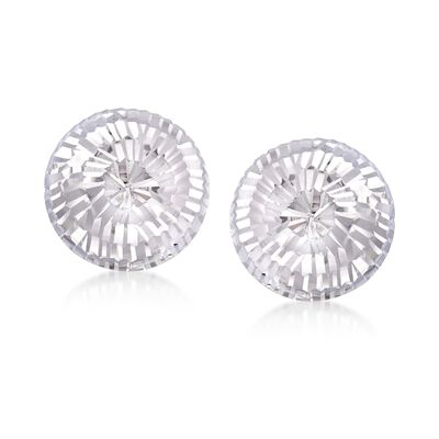 Italian 14mm Sterling Silver Diamond-Cut Dome Earrings