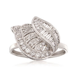 C. 1990 Vintage .76 ct. t.w. Diamond Leaf Ring in 18kt White Gold. Size 7.5, , default