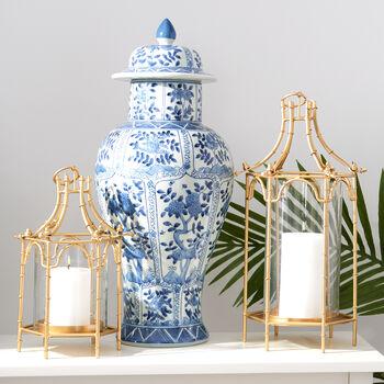 Blue and White Porcelain Floral Chrysanthemum Temple Jar , , default