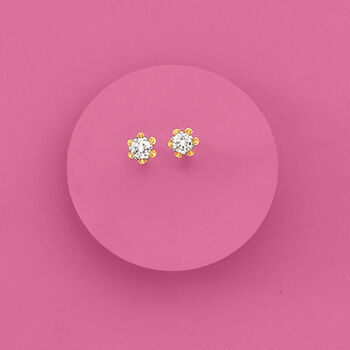 Child's Diamond Accent Stud Earrings in 14kt Yellow Gold, , default