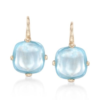 Italian 8.00 ct. t.w. Cabochon Blue Topaz Drop Earrings in 14kt Yellow Gold, , default