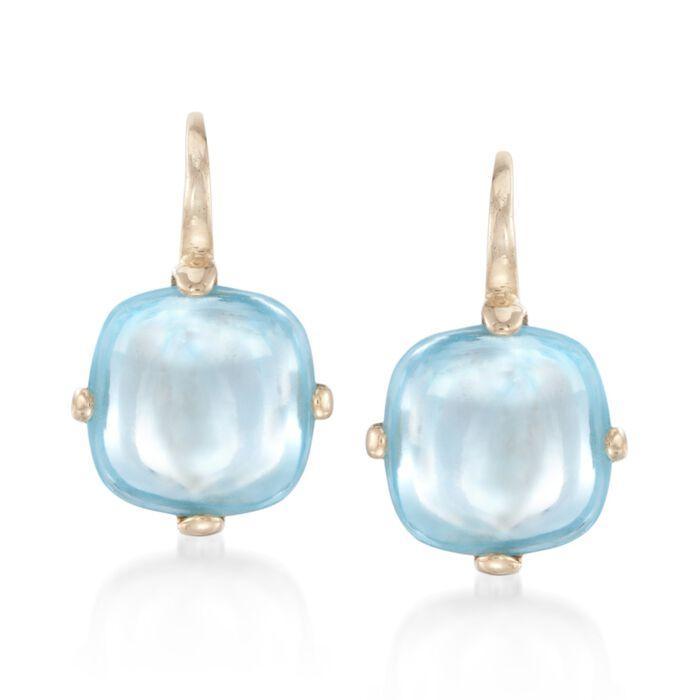 Italian 8.00 ct. t.w. Cabochon Blue Topaz Drop Earrings in 14kt Yellow Gold