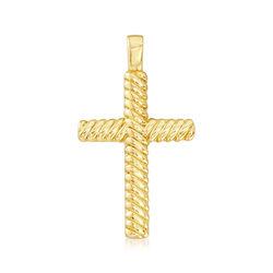 Italian Andiamo 14kt Yellow Gold Cross Pendant, , default