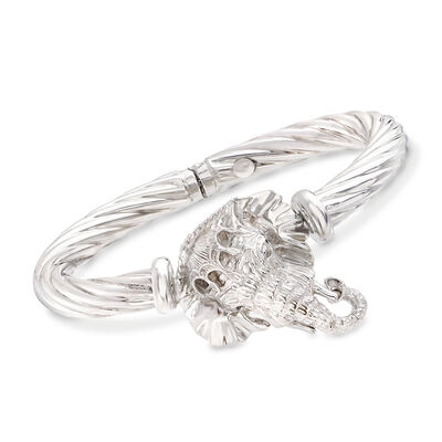 Italian Sterling Silver Elephant Bangle Bracelet, , default