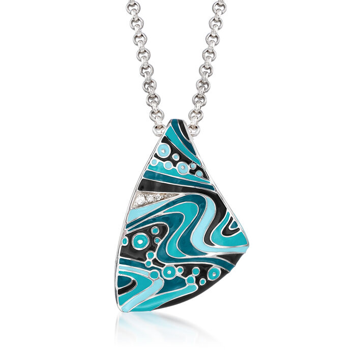 "Belle Etoile ""Calypso"" Turquoise and Multicolored Enamel Pendant with CZ Accents in Sterling Silver, , default"