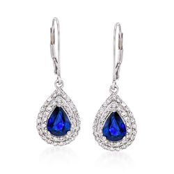 "2.20 ct. t.w. Sapphire and .80 ct. t.w. Diamond Drop Earrings in 14kt White Gold. 1 1/4"", , default"