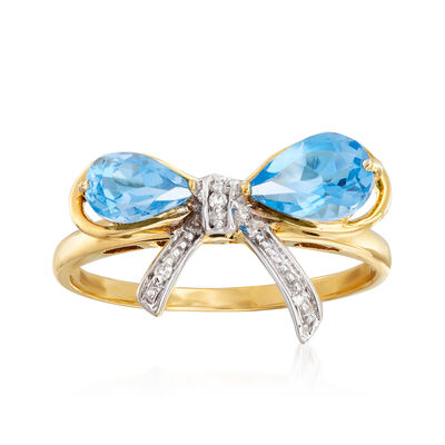1.30 ct. t.w. Swiss Blue Topaz Bow Ring in 14kt Yellow Gold