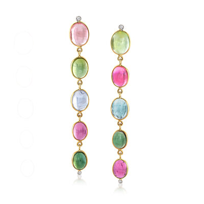 Mazza 18.00 ct. t.w. Multicolored Tourmaline and .10 ct. t.w. Diamond Drop Earrings in 14kt Yellow Gold