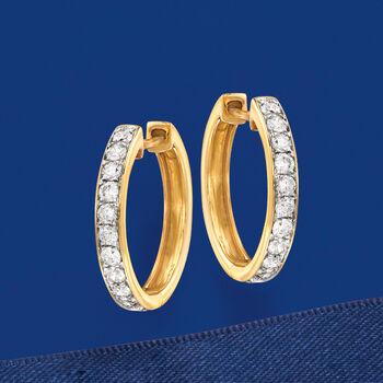""".50 ct. t.w. Diamond Hoop Earrings in 14kt Yellow Gold. 5/8"""""""