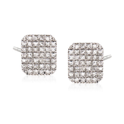 .15 ct. t.w. Pave Diamond Square Earrings in 14kt White Gold