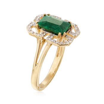 2.10 Carat Emerald and .40 ct. t.w. White Topaz Ring in 14kt Gold Over Sterling, , default
