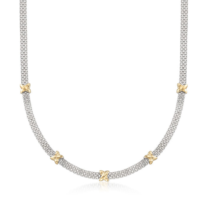 Sterling Silver and 14kt Yellow Gold Bismark-Link Necklace