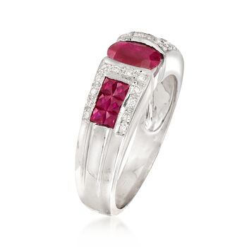 C. 1990 Vintage 1.30 ct. t.w. Ruby and .10 ct. t.w. Diamond Ring in 14kt White Gold. Size 8, , default