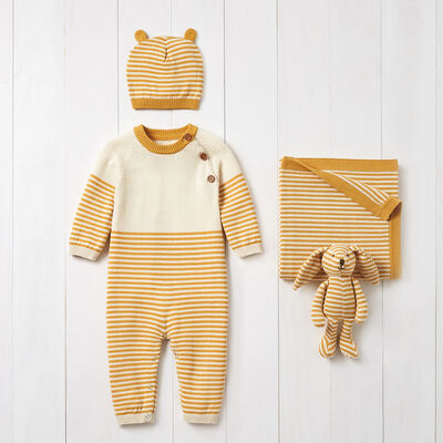 Elegant Baby Mustard Striped 4-pc. Gift Set, , default