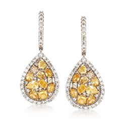 2.50 ct. t.w. Multicolored Diamond Pear-Shaped Drop Earrings in 14kt White Gold, , default