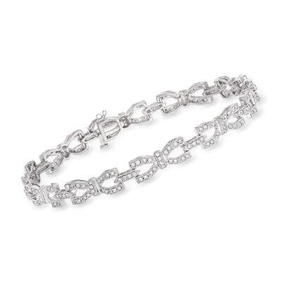 C. 1980 Vintage 2.00 ct. t.w. Diamond Link Bracelet in 18kt White Gold, , default