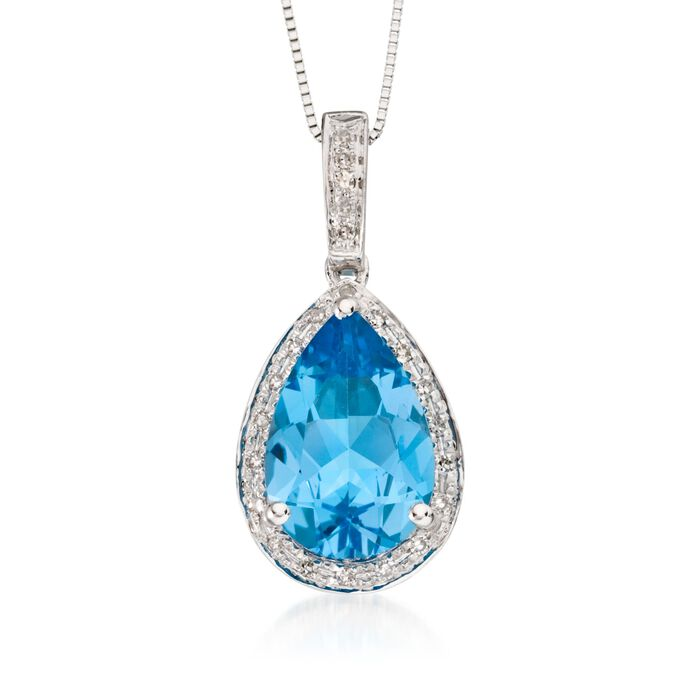 3.00 Carat Blue Topaz and .10 ct. t.w. Diamond Pendant Necklace in 14kt White Gold. 18""