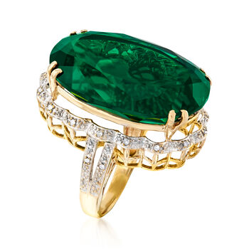 C. 1960 Vintage 54.00 Carat Chatham Synthetic Emerald and .10 ct. t.w. Diamond Ring in 18kt Yellow Gold. Size 8, , default
