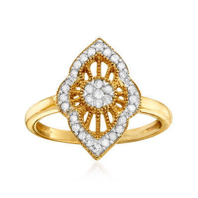 .25 ct. t.w. Diamond Cluster Ring in 18kt Gold Over Sterling, , default