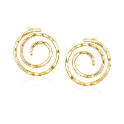 14kt Yellow Gold Spiral Earrings, , default