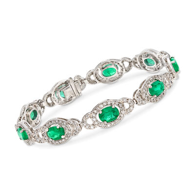 6.75 ct. t.w. Emerald and 1.75 ct. t.w. Diamond Oval-Link Bracelet in 14kt White Gold, , default
