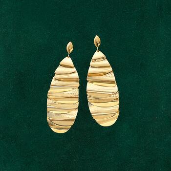 Italian 14kt Yellow Gold Tiered Teardrop Earrings, , default