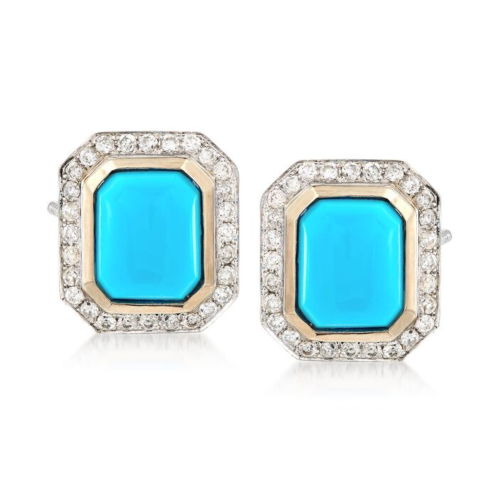 C. 1980 Vintage Turquoise and .90 ct. t.w. Diamond Frame Earrings in 14kt White Gold