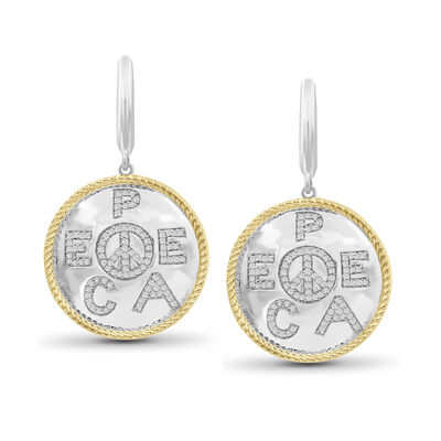 ".33 ct. t.w. Diamond ""Peace"" Drop Earrings in Two-Tone Sterling Silver, , default"