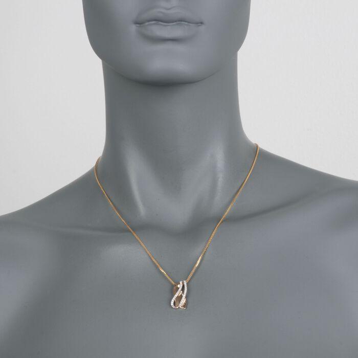 .30 ct. t.w. Diamond Crisscross Pendant in 14kt Two-Tone Gold