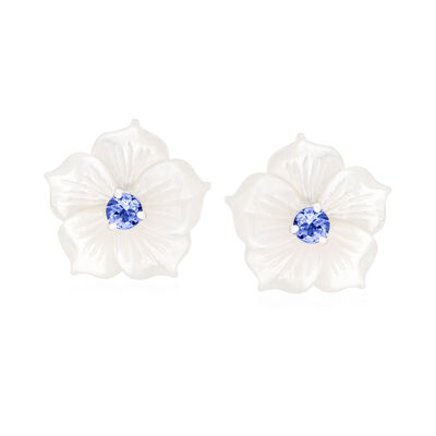 Mother-Of-Pearl and .50 ct. t.w. Tanzanite Flower Stud Earrings in Sterling Silver