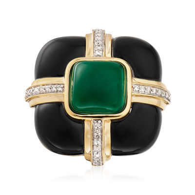 Black and Green Agate Ring with Diamonds in 18kt Yellow Gold Over Sterling, , default
