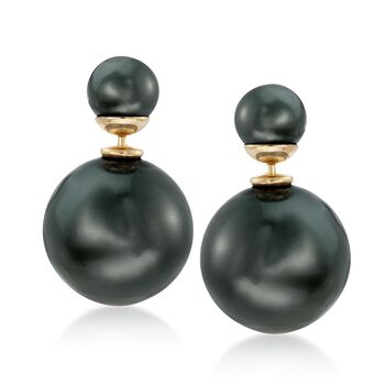 8-16mm Black Shell Pearl Front-Back Earrings in 14kt Gold Over Sterling, , default