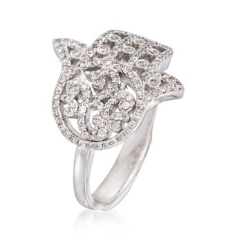 .40 ct. t.w. Diamond Hamsa Hand Ring in 14kt White Gold, , default