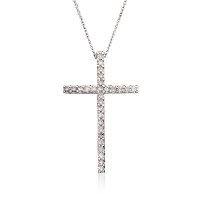 .25 ct. t.w. Diamond Cross Pendant Necklace in 14kt White Gold