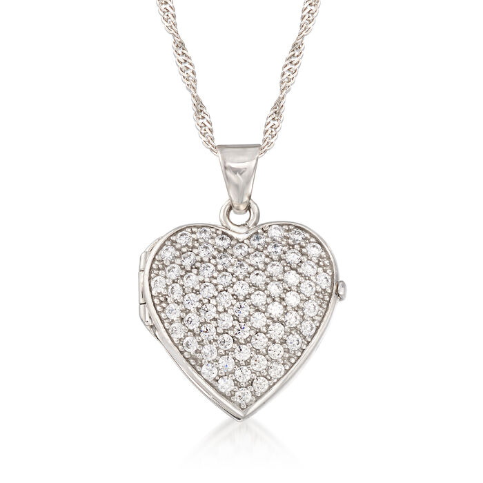 1.25 ct. t.w. CZ Heart Locket Necklace in Sterling Silver, , default
