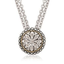 "Andrea Candela Diamond Accent Floral Pendant With Chain in 18kt Yellow Gold and Sterling Silver. 16"", , default"