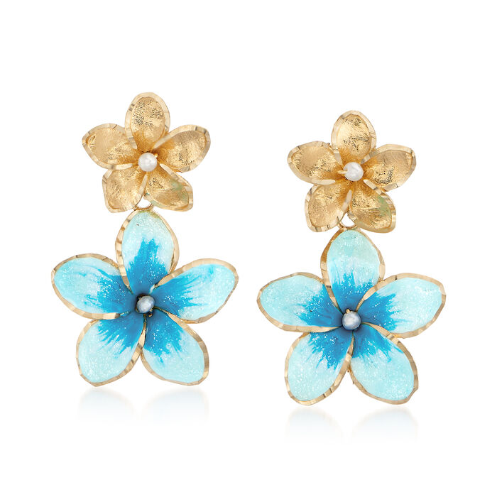 Italian 1mm Cultured Pearl and Enamel Floral Drop Earrings in 14kt Yellow Gold, , default