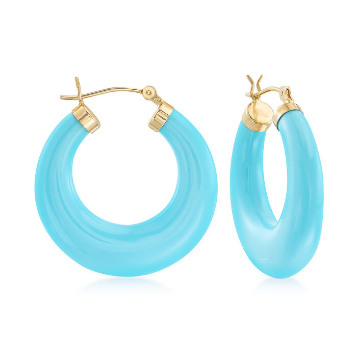 Turquoise Hoop Earrings in 14kt Yellow Gold