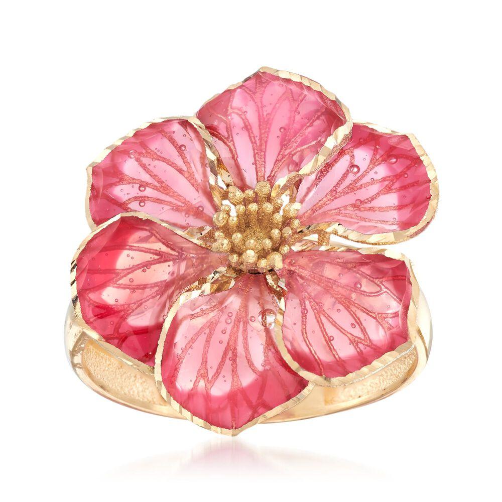 Italian Pink Enamel Flower Ring in 18kt Yellow Gold | Ross Simons