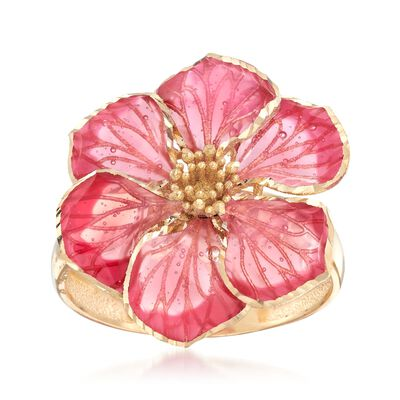 Italian Pink Enamel Flower Ring in 18kt Yellow Gold, , default