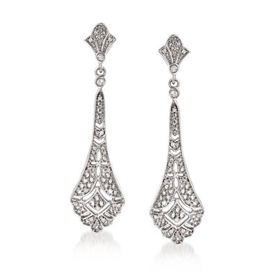 .15 ct. t.w. Diamond Openwork Drop Earrings in Sterling Silver, , default