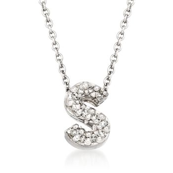 "Roberto Coin ""Tiny Treasures"" Diamond Accent Initial ""S"" Necklace in 18kt White Gold. 16"", , default"